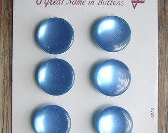 6 Shiny Blue Vintage Buttons on Lansing Card