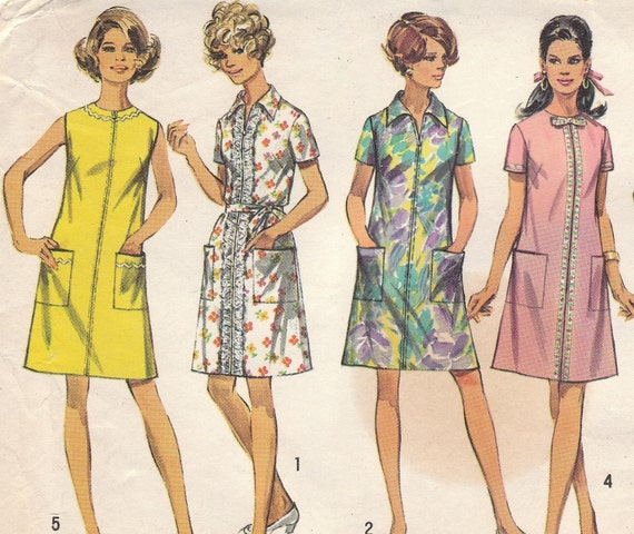 Vintage A-line Dress Pattern 1960s Simplicity 8285 Size 18 1/2