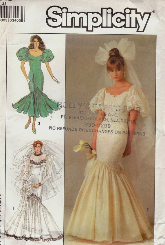 Mermaid Wedding Gown Pattern Simplicity 8425 Size 10 Uncut