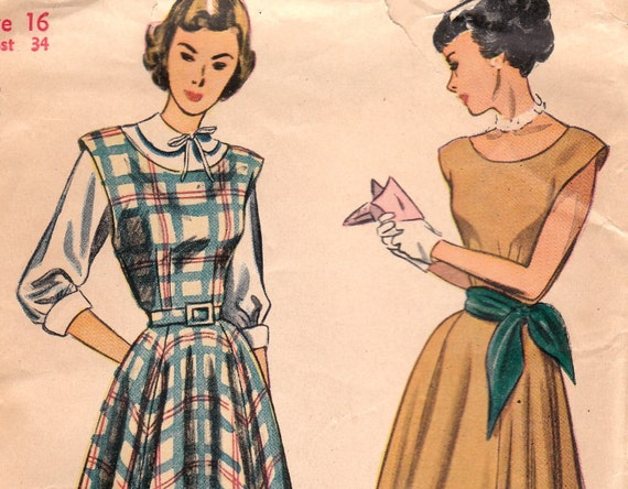 1940s Dress or Jumper & Blouse Pattern Simplicity 2313 Size 16