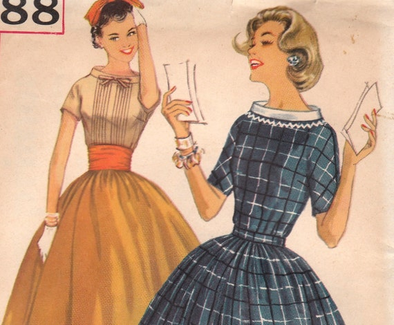 1950s Two Piece Dress Pattern with Wide Neckline and Flared Skirt Simplicity 1888 Size 14