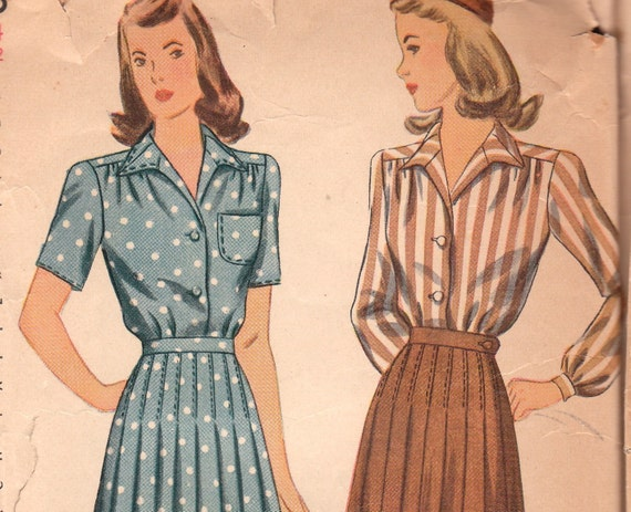 1940s Vintage Blouse & Pleated Skirt Pattern Simplicity 4693 Size 14