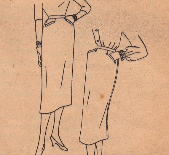 1950s Slim Pencil Skirt Pattern Simplicity 4431 Waist 24