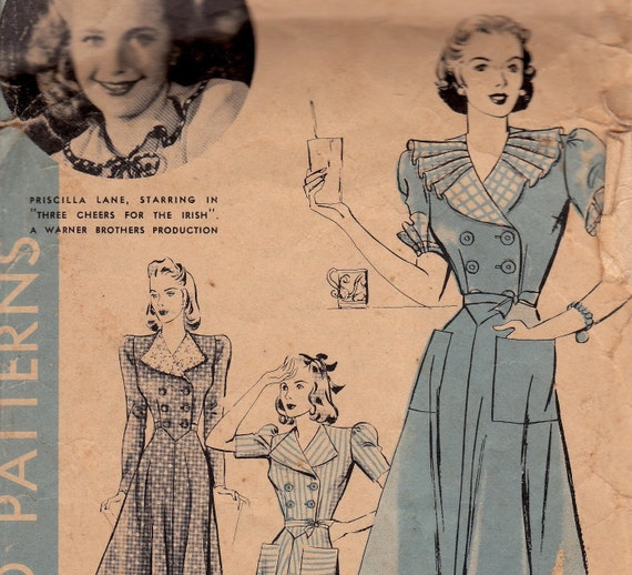 1940s Dress Hollywood Pattern 401 Priscilla Lane Size 20