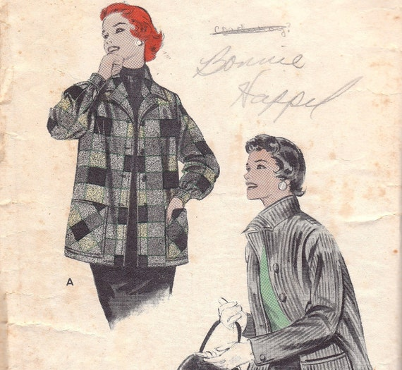 1950s Jacket Pattern Butterick 7044 Size 14