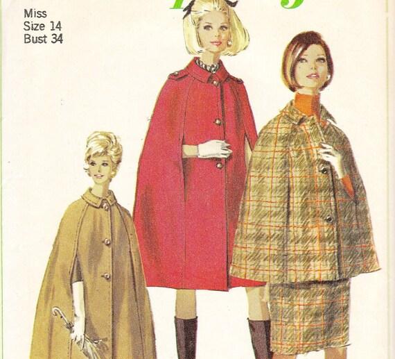 Vintage Cape Cloak Pattern Simplicity 7262 Size 14