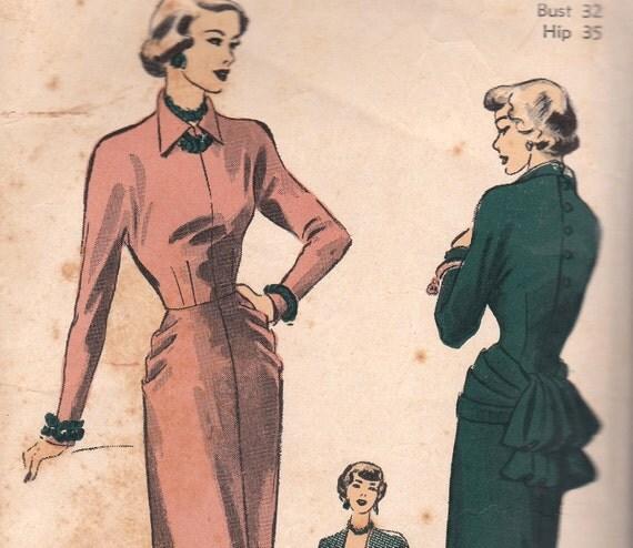 Dramatic 1940s Vintage Dress Pattern with Bustle Advance 4964 Size 14