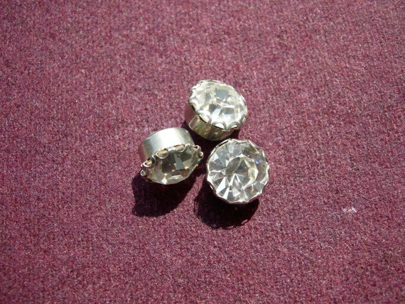 3 Sparkly Vintage Metal Buttons