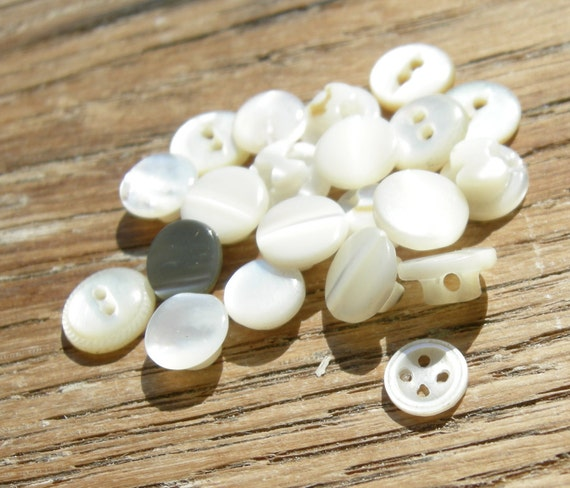 21 Tiny Vintage Shell Buttons - Mixed Lot