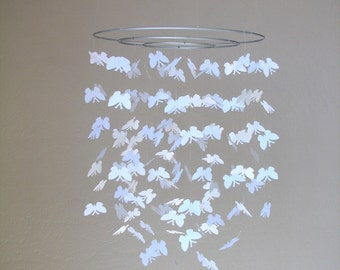 Butterfly baby mobile -White
