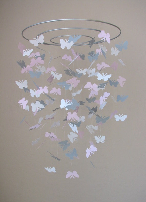 Butterfly baby mobile -White, pink, gray