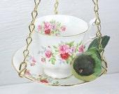 Hanging Bird Feeder - Vintage Teacup - Pink Roses