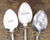 Italian Herbs - Basil, Oregano, Thyme - Garden Marker Set / Plant Marker Set - Vintage Silver Plated Spoons