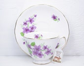 Reserved For Sandee - Planter / Plant Pot - Vintage Teacup - Purple Violets