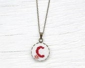 Personalized Embroidered Necklace. Cross Stitch Initial Pendant Letter & Colour Of Your Choice.