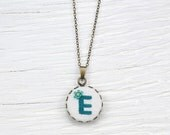 Custom Embroidered Necklace. Personalized Cross Stitch Initial Pendant Letter & Colour Of Your Choice.