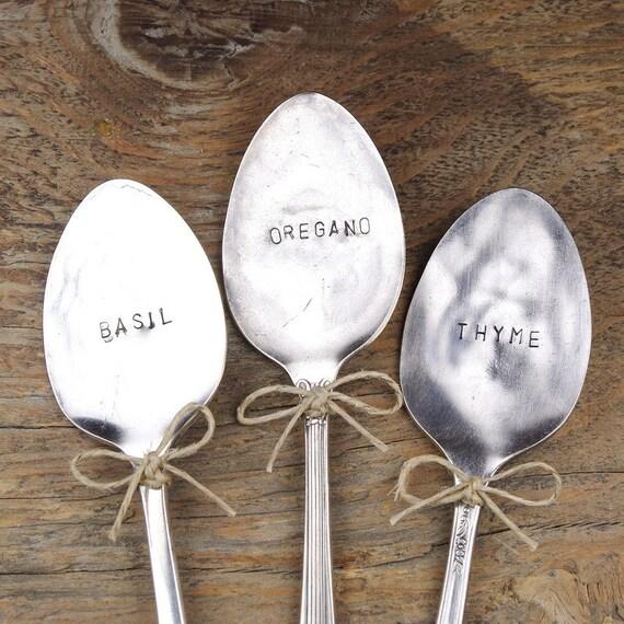 Italian Herbs - Basil, Oregano, Thyme - Garden Marker Set / Plant Marker Set - Vintage Silver Plated Spoons