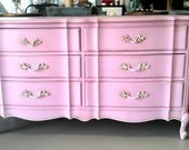 RESERVED: Beautiful light Pink dresser,nightstand, and custom desk