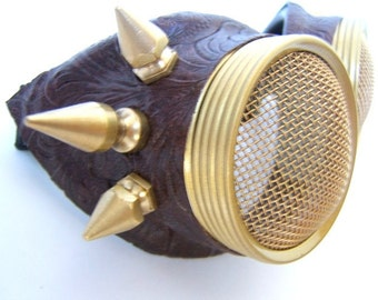 Halloween Hive Steampunk Goggles / Motorcycle Goggles - Waspeye Lens Stinger REAL BRASS spikes