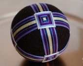 "home decor ornament - modern traditional Japanese temari - ""All the Details"" - embroidered black sphere - crafting for a cause"