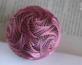 So Tremulously Like a Dream - Japanese temari - home decor ornament - modern brown and rose sphere embroidery - crafting for a cause
