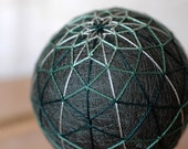 From Your Own Actions - Japanese temari - home decor ornament - green embroidery fiber art  - crafting for a cause