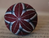 It's What You See - Japanese temari - free US shipping - home decor ornament - red gray grey burgundy embroidery - crafting for a cause