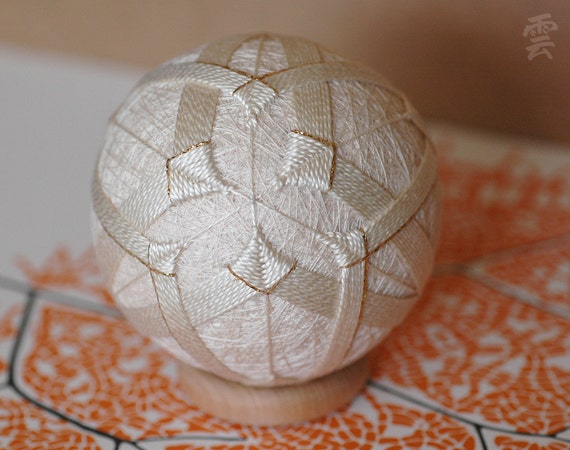 Destiny is Made Known Silently - Japanese temari - free US shipping - home decor ornament - ecru white embroidery - crafting for a cause