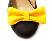 Bow Shoe Clips - Lemon Yellow - clip on bow accessories