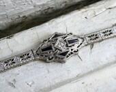 Stunning Vintage 14K White Gold Sapphire and Diamond Bracelet.