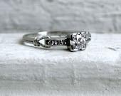 Unique Vintage Platinum Diamond Engagement Ring