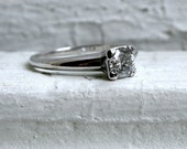 RESERVED - Simple, Classic, Vintage 18K White Gold Diamond Solitaire Engagement Ring.