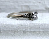 RESERVED - Beautiful Vintage 14K White Gold Diamond Five Stone Engagement Ring - 0.35ct