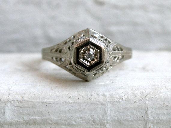 Stunning Vintage Filigree 14K White Gold Diamond Engagement Ring