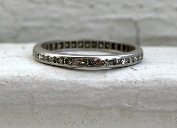 RESERVED - Amazing Antique Platinum Diamond Full Eternity Wedding Band - 0.80ct.