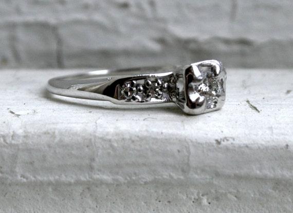 RESERVED - Lovely Vintage 14K White Gold Diamond Engagement Ring.