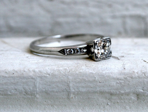 RESERVED - Stunning Vintage Platinum Diamond Engagement Ring