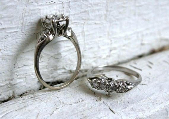 RESERVED - Fantastic Vintage Matching 14K White Gold Diamond Two Ring Wedding Set - 1.00ct