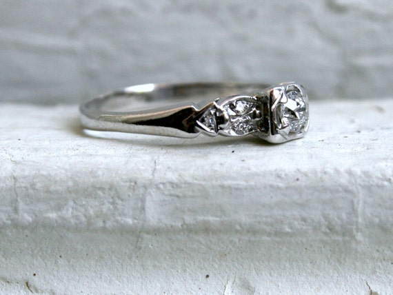 Unique Vintage 14K White Gold Diamond Engagement Ring.