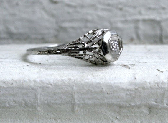 RESERVED - Beautiful Handcrafted Vintage 18K White Gold Diamond Engagement Ring