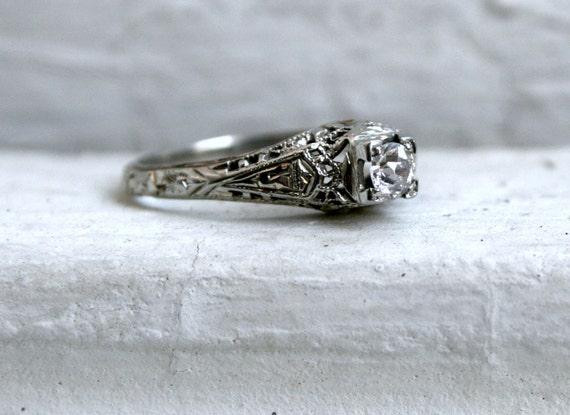 RESERVED - Lovely Vintage Filigree 18K White Gold Diamond Engagement Ring.