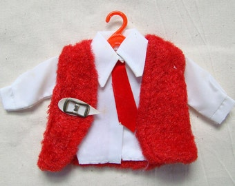 Vintage White Top and Red Vest for Barbie Dolls
