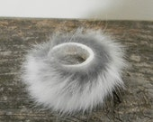 Rabbit Fur  ring white and grey, soft handstiched fits ANY SIZE