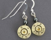 Custom Bullet Earrings - 308 Winchester Bullet Casings with Sterling Silver and Hematite