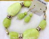 LIME GREEN BRACELET and Earrings