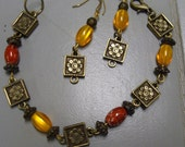 Red and Gold  Bracelet And Earrings