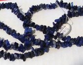 35 INCHES of  BLUE LAPIS  chips