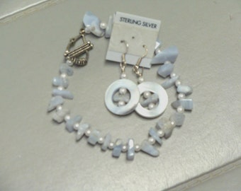 Blue Lace Agate Bracelet     And Earrings