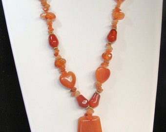 sale  RED AVENTERINE and AGATE Necklace