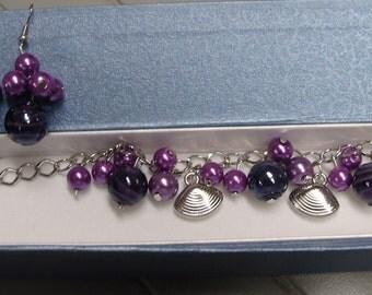Purple Charm Bracelet   With Free Earrings